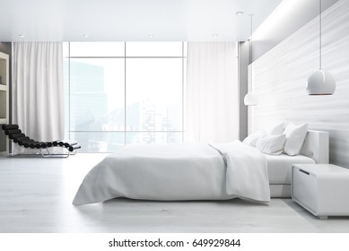 Side view of a white wall bedroom interior with a double bed, a bedside table, an armchair and a large window. 3d rendering