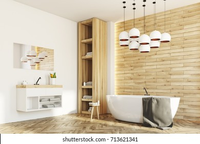 Side view of a white and wooden bathroom interior with a white round tub, a sink and a closet with towels. 3d rendering mock up