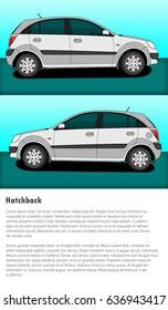 Side views of hatchback car illustration.