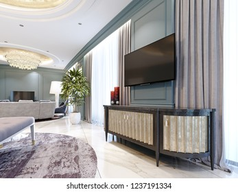 Sideboard with a TV against the wall in a modern classic style. 3d rendering