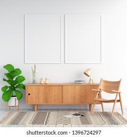 Sideboard and two blank photo frame on wall for mockup, 3D rendering