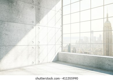 Sideview of concrete interior with NYC view and sunlight. 3D Rendering