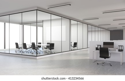 Sideview of concrete office interior with blank whiteboard. 3D Rendering