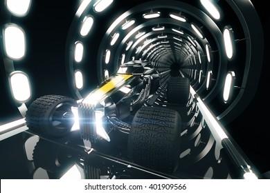 Rear Sideview Hot Rod Car Illuminated Tunnel Stock