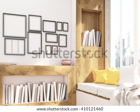 Sideview Of Interior Design With Windowsill Seat Bookshelves And Blank Frames Mock Up