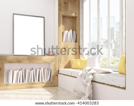 Sideview Of Interior Design With Windowsill Seat Bookshelves And Blank Picture Frame Study Room