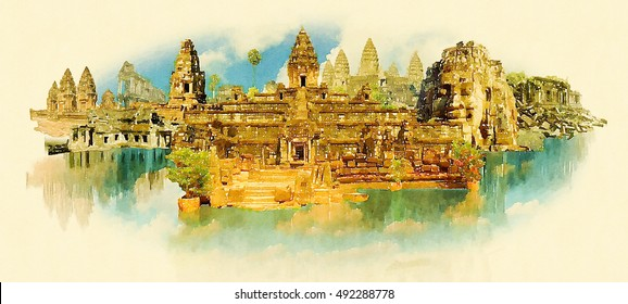 SIEM RAEP city high resolution panoramic water color illustration