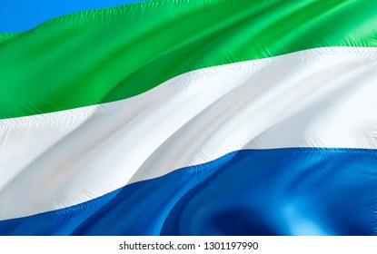 Sierra Leone flag. 3D Waving flag design. The national symbol of Sierra Leone, 3D rendering. National colors of Sierra Leone 3D Waving sign background design. 3D ribbon, wallpaper,pattern background