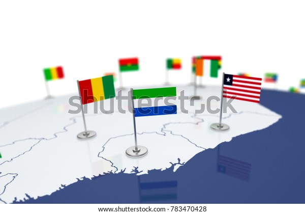 Sierra Leone flag. Country flag with chrome flagpole on the world map with neighbors countries borders. 3d illustration rendering flag