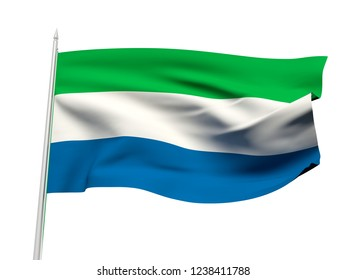 Sierra Leone flag floating in the wind with a White sky background. 3D illustration.
