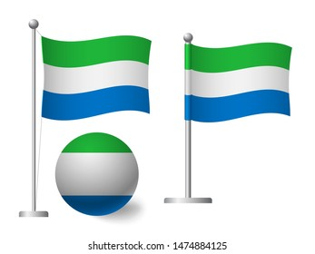 Sierra leone flag on pole and ball Metal flagpole. National flag of Sierra leone  illustration