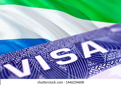 Sierra Leone Visa Document, with Sierra Leone flag in background, 3D rendering. Sierra Leone flag with Close up text VISA on USA visa stamp in passport.passport stamp travel Sierra Leone business