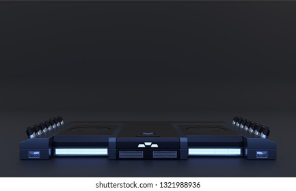 Si-fi pedestal for display on dark background. Mock up of empty stage. Space to place your text or object. Cyberpunk. Dark metal and blue neon. 3d render.