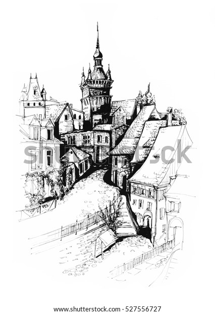Sighisoara city Romania architectural ink drawing