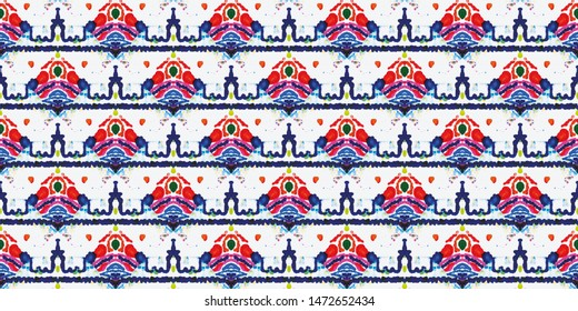 Sightly Borderless Pattern. Watercolor Ethnic Embroidery. Aqua, Crimson and White Triangles with Orange. Tribal Diverse Threadbare textile. Colorful Tracery Geometry.
