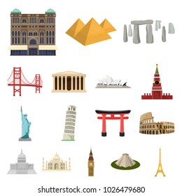 Sights of different countries cartoon icons in set collection for design. Famous building bitmap symbol stock web illustration.