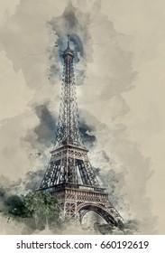 Seht Frankreich. Fotoskizzen. Aquarell, Hintergrund.Eiffelturm