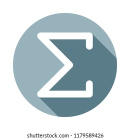 Sigma greek letter icon in Flat long shadow style. One of web collection icon can be used for UI, UX on white background