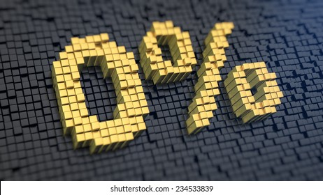 Sign '0%' of the yellow square pixels on a black matrix background. Absolutely free credit concept.