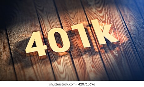 """The sign """"401k"""" is lined with gold letters on wooden planks. 3D illustration image"""