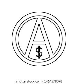 a sign of anarchy and the dollar icon. Element of Communism Capitalism for mobile concept and web apps icon. Outline, thin line icon for website design and development, app
