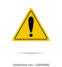 Sign of attention and exclamation in yellow triangle. Attention safety road, risk and caution, alert danger. illustration
