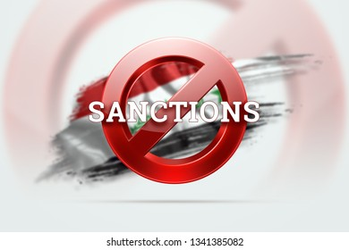 The sign of the ban, the inscription of the sanctions on the flag of Iraq. Concept of sanctions and embargo, import ban, politics, 3d rendering, 3d illustration.