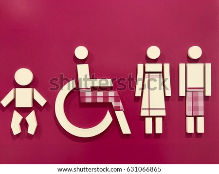 Sign Bathroom Sign Made White Plastic Stock Illustration 631066865