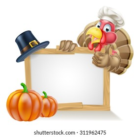 Sign with cartoon Thanksgiving turkey bird wearing a chef or cooks hat with a pilgrim or puritan thanksgiving hat and pumpkins