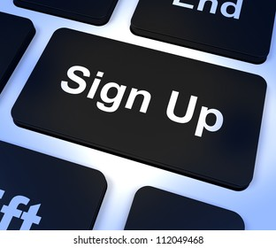 Sign Up Computer Key Shows Subscription And Registration