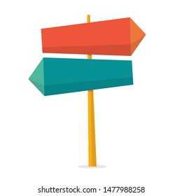 Sign concept. Road sign on street and direction choice. Message on board. Isolated flat  illustration