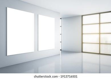 Sign concept with two blank white posters on light wall in empty minimalistic room with smoky city view and glossy floor. Mockup. 3D rendering