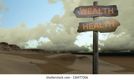 sign direction health - wealth