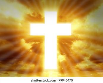 Sign of faith. Cross in sky.