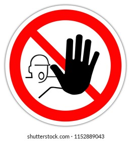 Sign in France: hand, Do not enter sign. Warning red circle icon isolated on white background. Prohibition concept. No traffic street symb