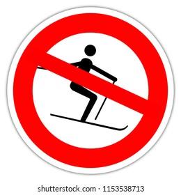 Sign in France: no ski - fobidden ski - off-piste skiing prohibited