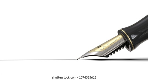 Sign here. Close up of Fountain pen drawing line of ink on white background. Black, steel and gold. 3d render, copy space.