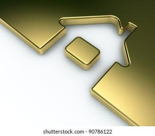 Sign Home as arrow. 3d