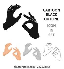 Sign language icon in cartoon style isolated on white background. Interpreter and translator symbol stock bitmap illustration.
