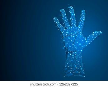 Sign language number five gesture, human hand showing five fingers. Polygonal low poly high five, succes teamwork. Deaf People silent communication alphabet. Wireframe Raster 5 on dark blue background