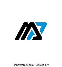 Sign the letter M and P Branding Identity Corporate logo design template Isolated on a white background