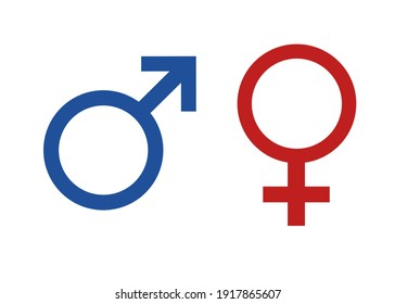 sign for male and female, blue and red isolated on white background