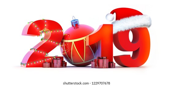 Sign new year 2019 on white background. 3d illustration