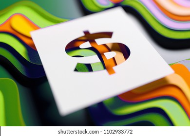 $ Sign on the Green and Blue Cardboard Background. 3D Illustration of $ Sign Dollar for Celebrations.