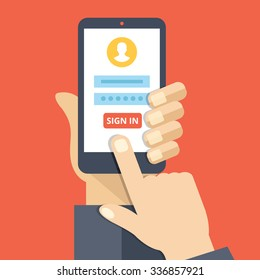 Sign in page on smartphone screen. Hand hold smartphone, finger touch sign in button. Mobile account. Modern concept for web banners, web sites, infographics. Creative flat design flat illustration
