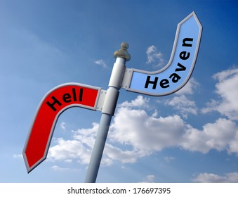 sign post with direct to heaven or hell