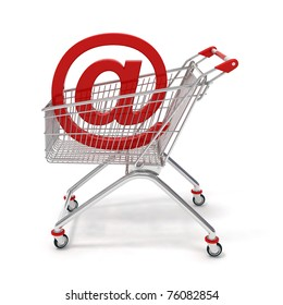 at sign in a shopping cart,  isolated on white  background