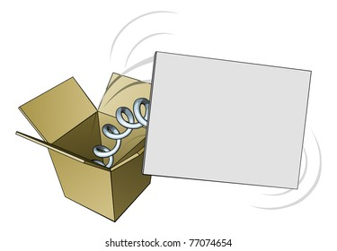 A sign springing out of a box with blank copyspace for your message