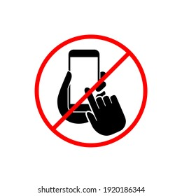 Sign stop no phone. Silhouette of hand with phone icon isolated on white background