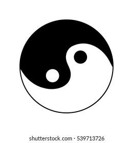 Sign yin and yang. Monochrome symbol of balance. Plane mark isolated on white background. Asian icon of harmony. Image concept of daoism. Stock illustration